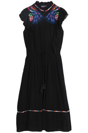 ANTIK BATIK Embroidered cotton-crepe dress