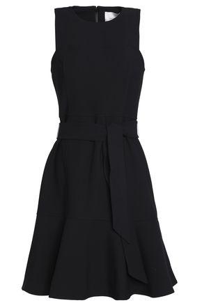 CINQ À SEPT Belted fluted crepe dress