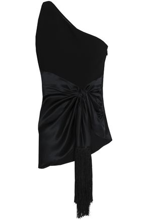 CINQ À SEPT One-shoulder fringe-trimmed knotted satin and crepe top