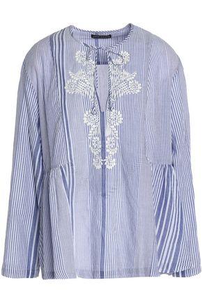 ANTIK BATIK Embroidered striped cotton-voile tunic