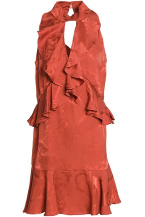 CINQ À SEPT Cutout ruffled silk-jacquard mini dress