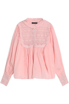 ANTIK BATIK Lace-paneled ruffle-trimmed gathered cotton-gauze blouse