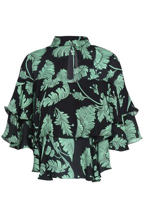 CINQ À SEPT Cutout ruffled printed silk blouse
