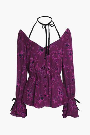 CINQ À SEPT Pussy-bow floral-print silk halterneck top