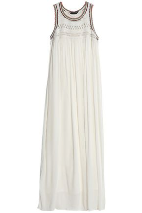 ANTIK BATIK Crochet-paneled pleated cotton-gauze maxi dress