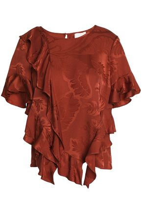 CINQ À SEPT Ruffled silk-jacquard top