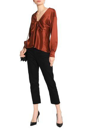 CINQ À SEPT Tie-front silk-satin blouse