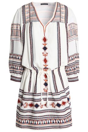 ANTIK BATIK Tasseled embroidered cotton-gauze dress