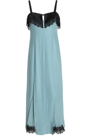 CINQ À SEPT Lace-trimmed pleated silk-crepe midi dress