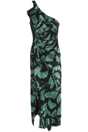 CINQ À SEPT One-shoulder ruffled printed silk-satin midi dress