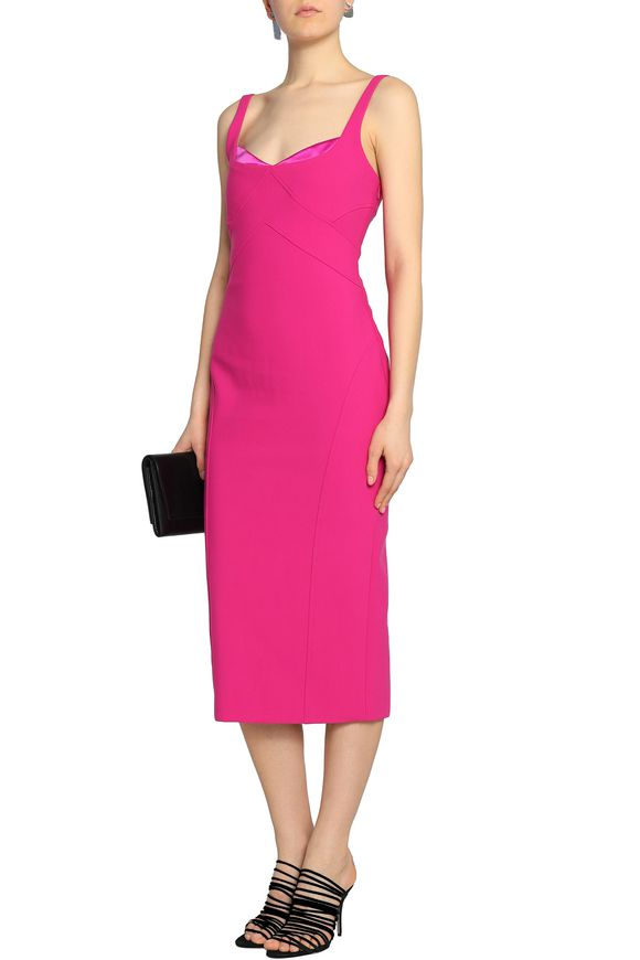 Cheap Sale From China Free Shipping Online Cinq À Sept Woman Mies Jolie Satin-trimmed Cady Midi Dress Fuchsia Size 8 Cinq à Sept Free Shipping In China Buy Free Shipping Visit Fli208l6H