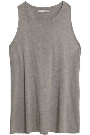 VINCE. Mélange cotton and silk-blend jersey tank