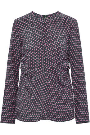 MARNI Ruched printed silk top