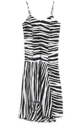 VIX PAULAHERMANNY Shirred zebra-print silk midi dress