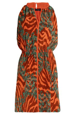 VIX PAULA HERMANNY Cutout printed crepe de chine mini dress