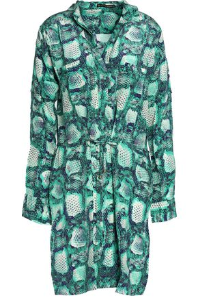 VIX PAULAHERMANNY Snake-print silk shirt dress