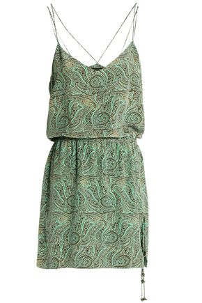 VIX PAULAHERMANNY Beaded printed crepe de chine mini dress