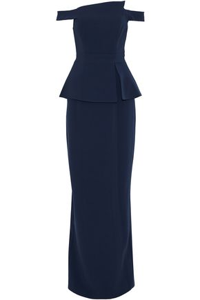 BLACK HALO EVE by LAUREL BERMAN Off-the-shoulder pleated crepe gown
