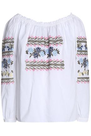 NEEDLE & THREAD Tasseled embroidered cotton-gauze dress