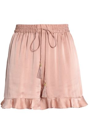 ZIMMERMANN Tasseled ruffle-trimmed washed-silk shorts