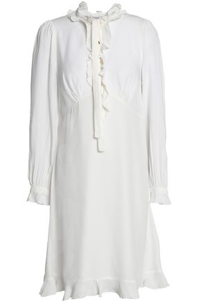 WOMAN RUFFLE-TRIMMED CREPE SHIRT DRESS WHITE