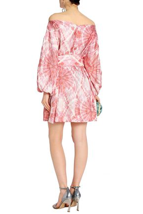 ZIMMERMANN Off-the-shoulder tie-dyed faille mini dress