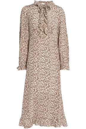 ZIMMERMANN Ruffle-trimmed floral-print silk crepe de chine midi dress