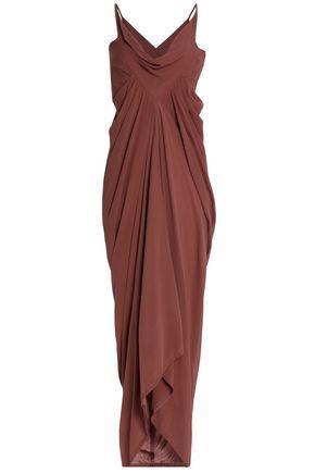 RICK OWENS Draped brushed-silk midi dress