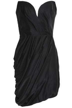 ZIMMERMANN Strapless draped washed-silk mini dress