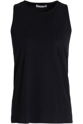 VINCE. Twist-back cotton and silk-blend tank