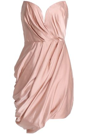 ZIMMERMANN Strapless wrap-effect draped washed-silk mini dress