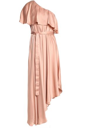 ZIMMERMANN One-shoulder ruffled silk midi dress