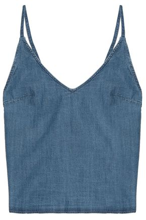 3x1 Open-back cotton-chambray camisole