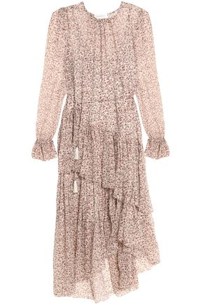 ZIMMERMANN Asymmetric crinkled floral-print silk-georgette midi dress