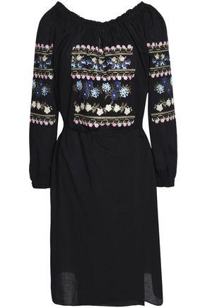 NEEDLE & THREAD Tasseled ruffle-trimmed embroidered cotton-poplin dress