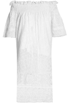 NEEDLE & THREAD Off-the-shoulder shirred broderie anglais cotton-poplin dress