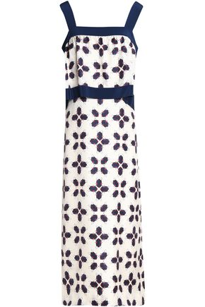TORY BURCH Printed silk-twill midi dress