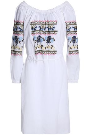 NEEDLE & THREAD Tasseled ruffle-trimmed embroidered cotton-poplin dress