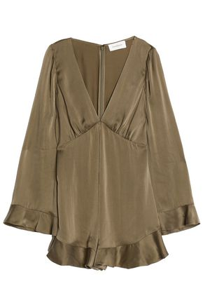 ZIMMERMANN Ruffle-trimmed washed silk-satin playsuit