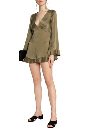 ZIMMERMANN Ruffle-trimmed washed-silk playsuit