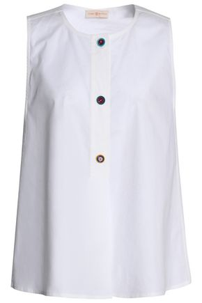 TORY BURCH Button-detailed stretch cotton-poplin top