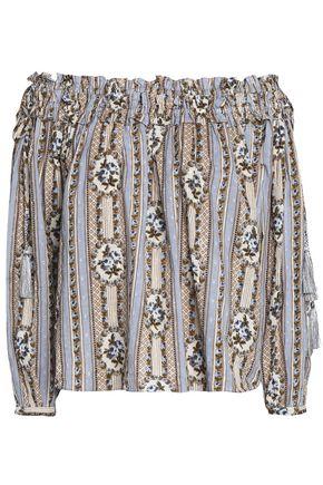 NEEDLE & THREAD Off-the-shoulder floral-print cotton fil coupé blouse