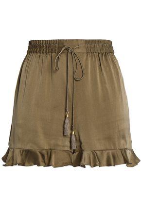 ZIMMERMANN Tasseled ruffle-trimmed washed-silk shorts