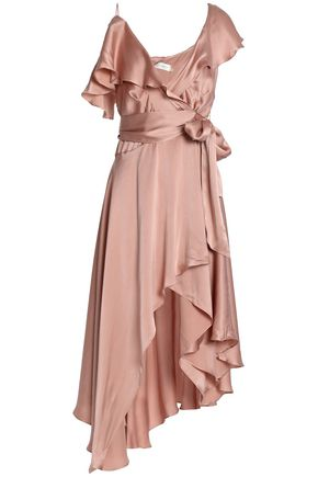 ZIMMERMANN Asymmetric ruffled washed-silk mini wrap dress