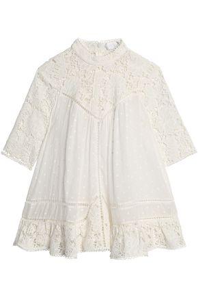 ZIMMERMANN Guipure lace-paneled Swiss-dot cotton-voile blouse