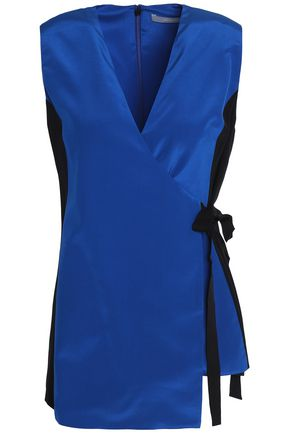 JASON WU Two-tone silk crepe de chine wrap top