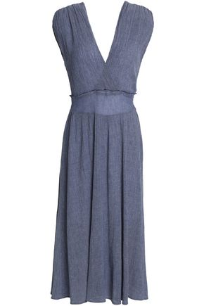 KAIN Ruched shirred crepe midi dress