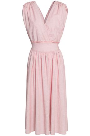 KAIN Shirred crinkled-crepe midi dress