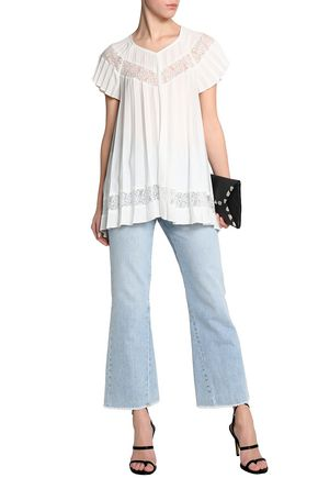 Zimmermann Corded Lace Trimmed Pleated Crepe De Chine Blouse