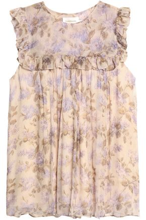 ZIMMERMANN Ruffle-trimmed floral-print silk-georgette blouse